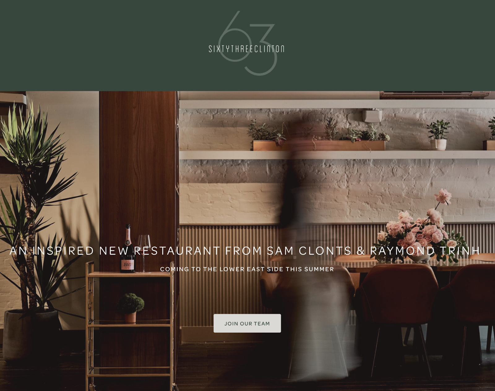 63 Clinton - good restaurant website design example