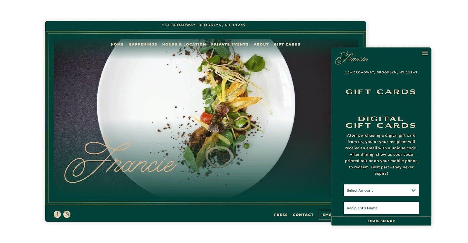 good restaurant website design example 2